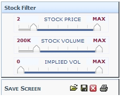Stock options volume screener